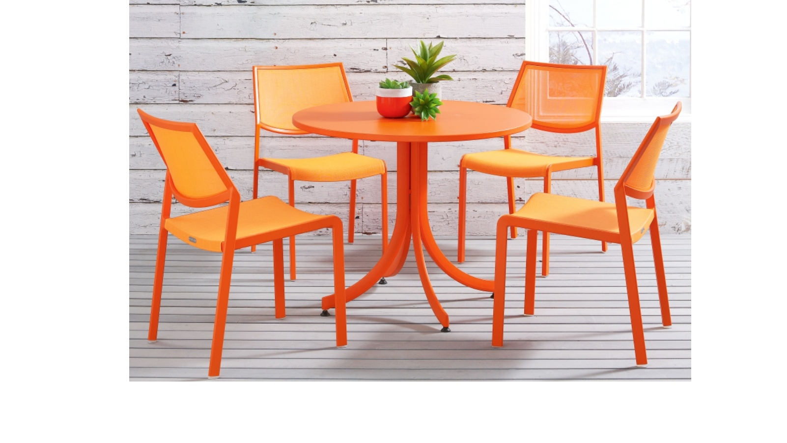 Stax Flip Top Round Table Orange Domayne