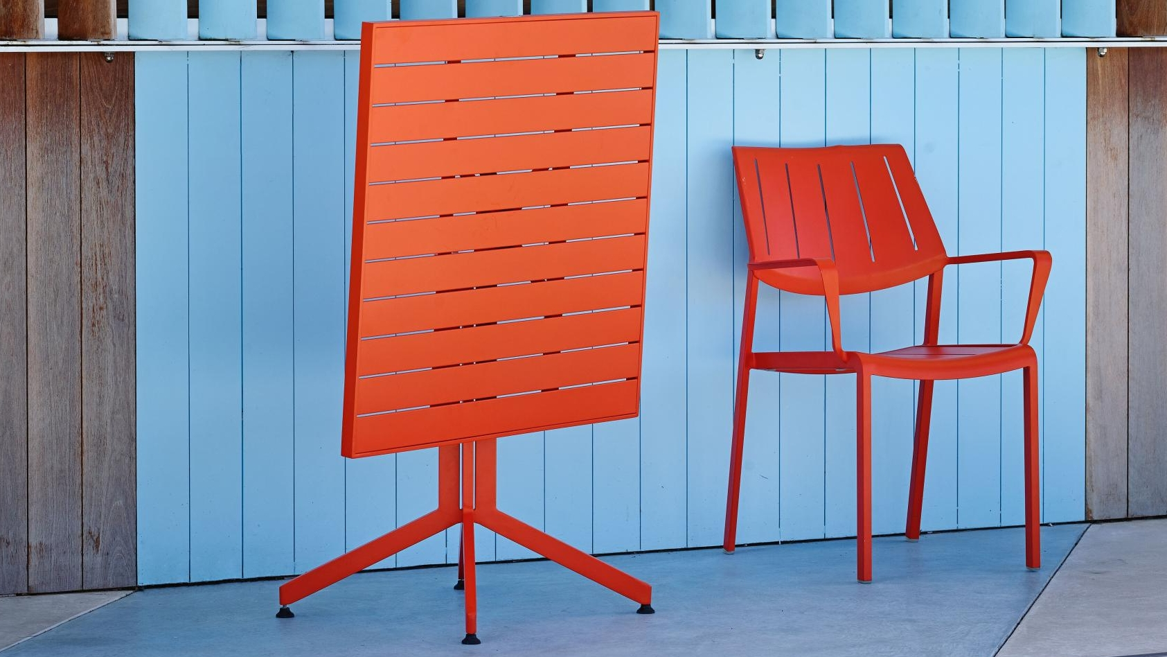 Stax Aluminium Carver Dining Chair Orange Domayne