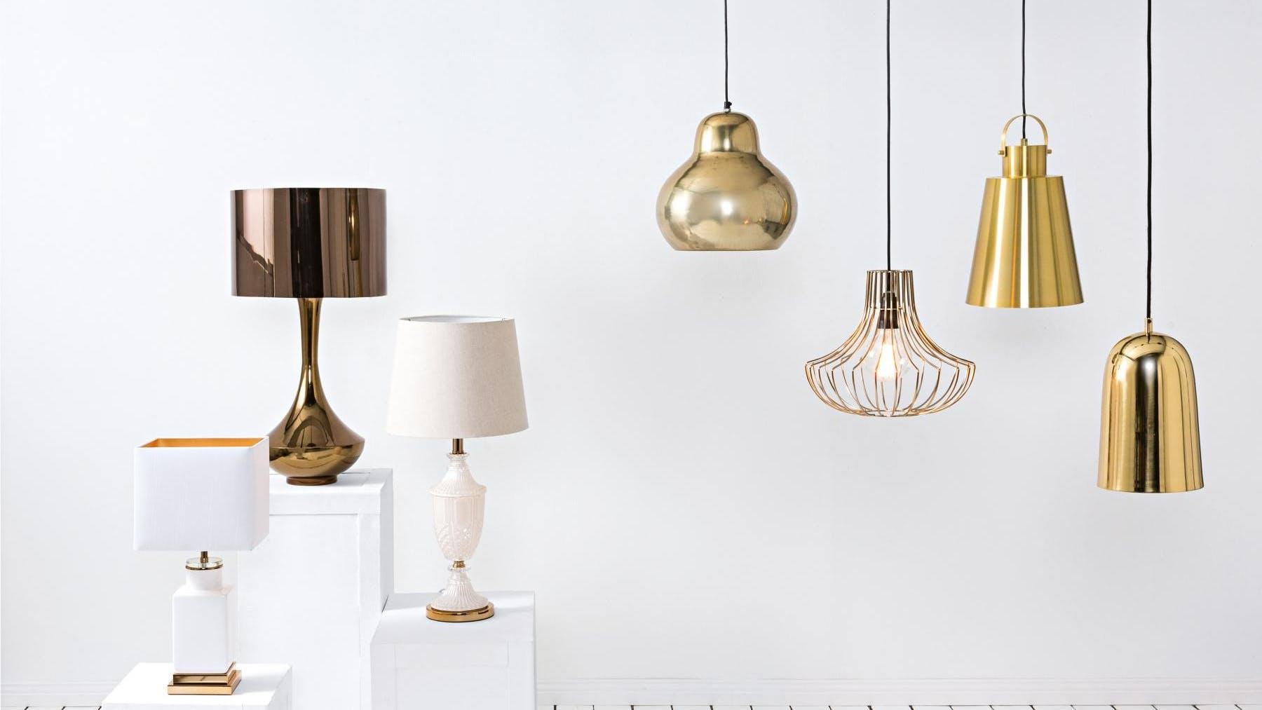 Copenhagen Pendant Light - Gold   Domayne