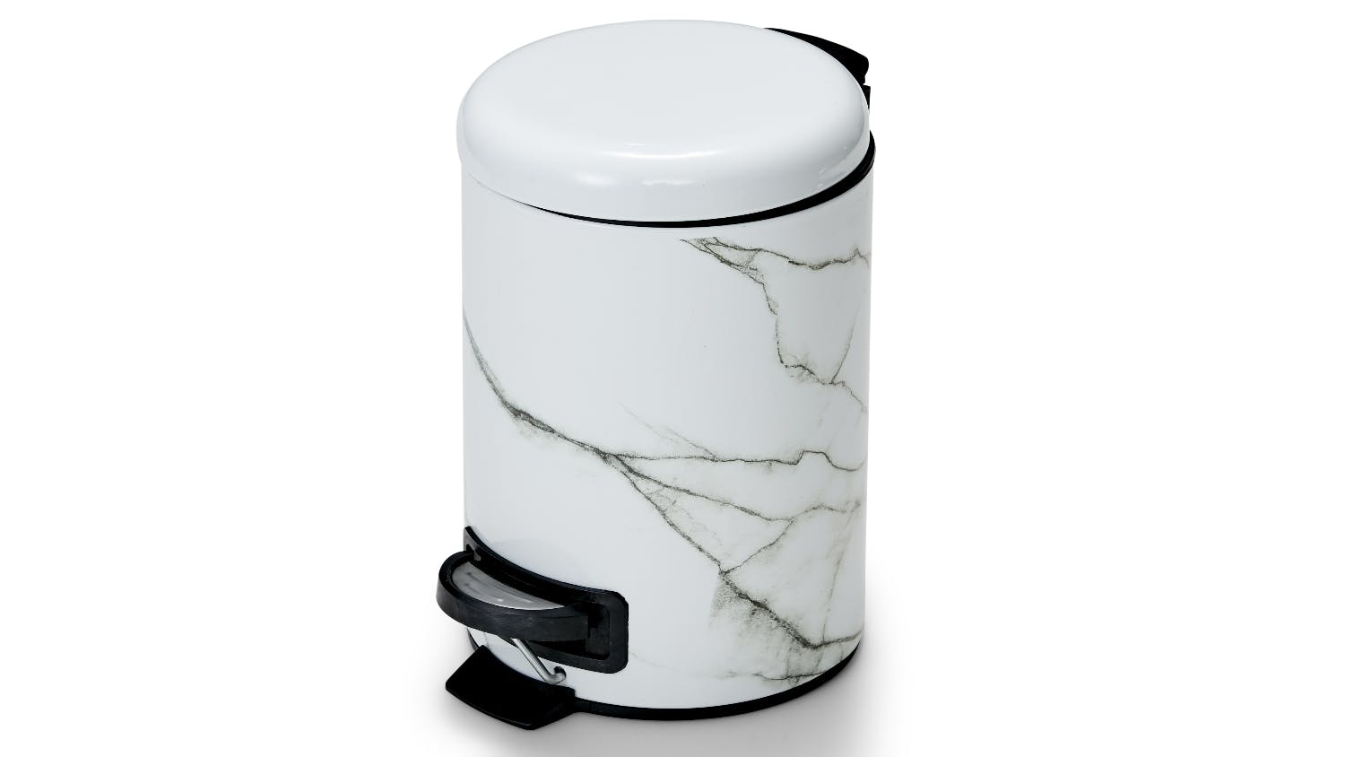 Salt pepper suds marble bin domayne for Marble bathroom bin