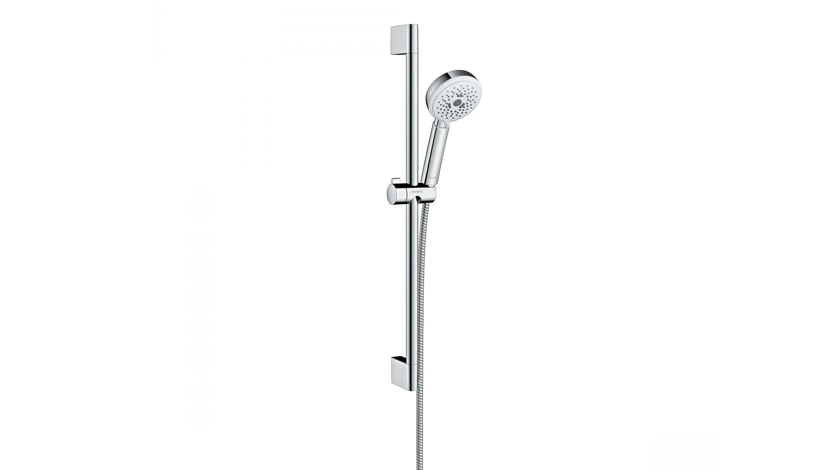 Hansgrohe Crometta 100 EcoSmart Shower Rail - White and Chrome | Domayne