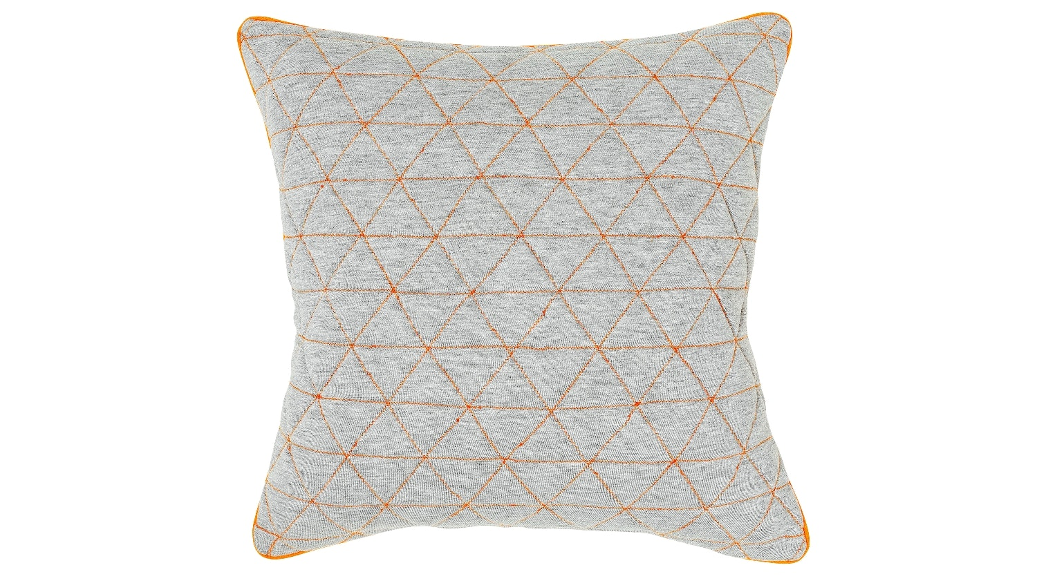 Triangles Quilted Cushion - Grey/Tangerine