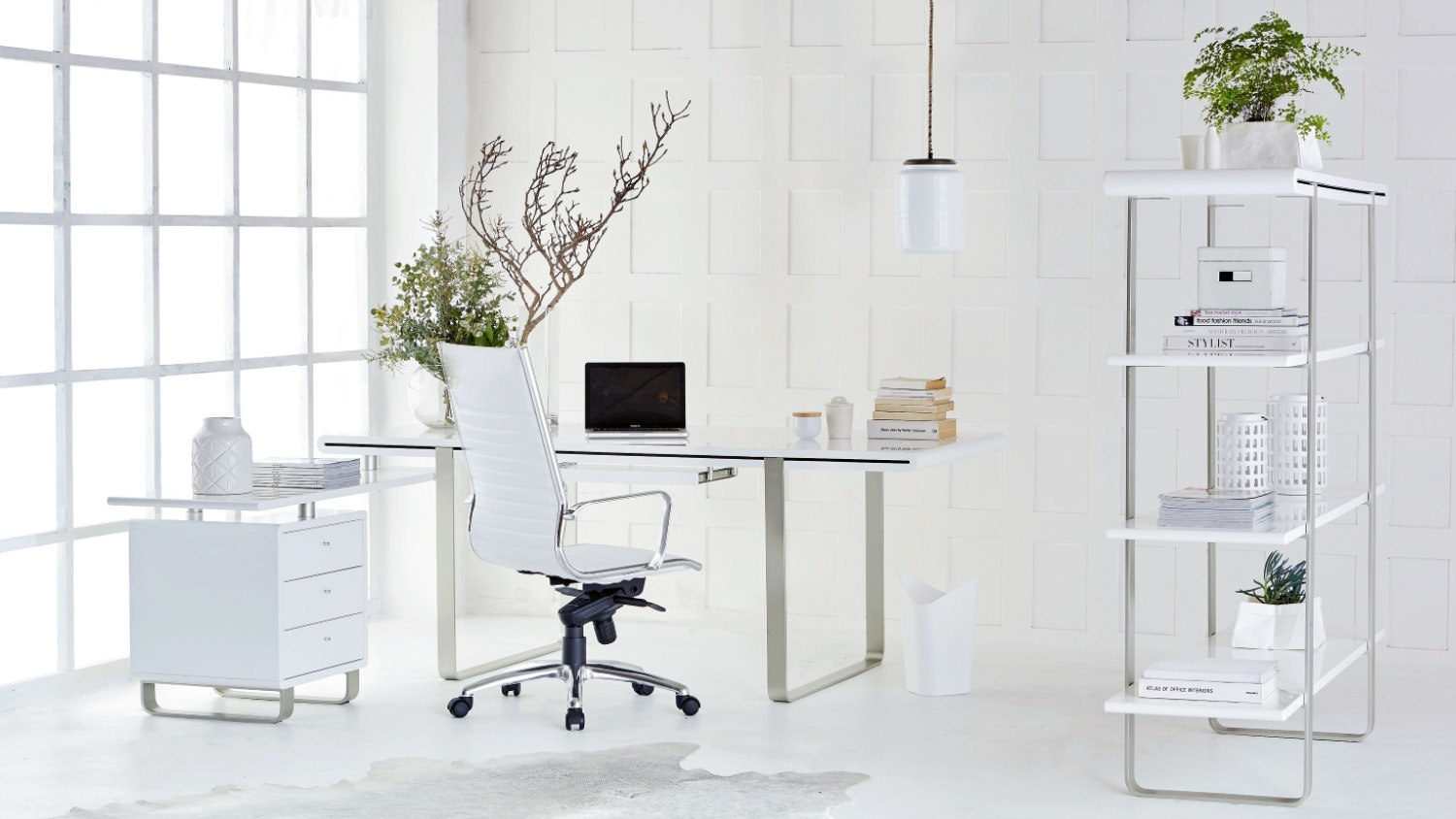 Loren Desk with Return and 3 Drawer Cabinet