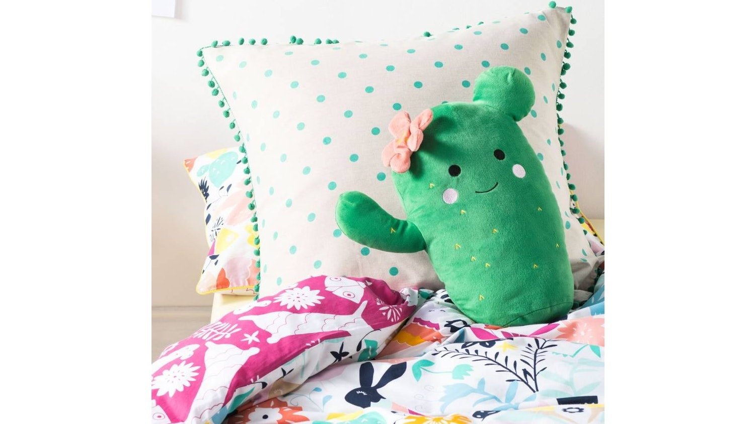 Hiccups Happy Cactus Cushion - Green