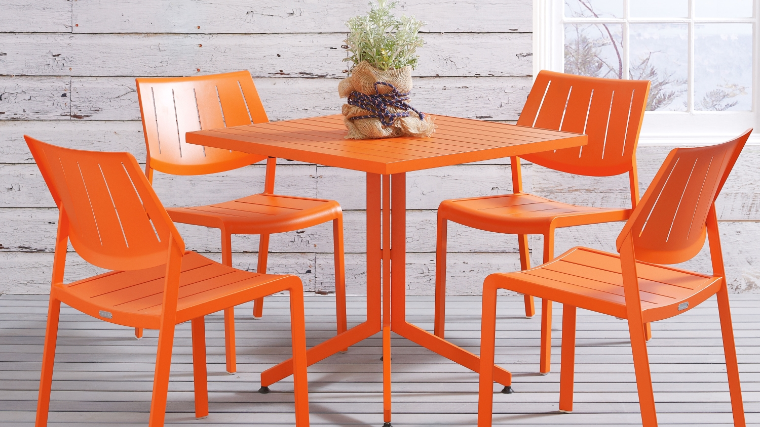Stax Flip Top Slat Top Square Table Orange Domayne