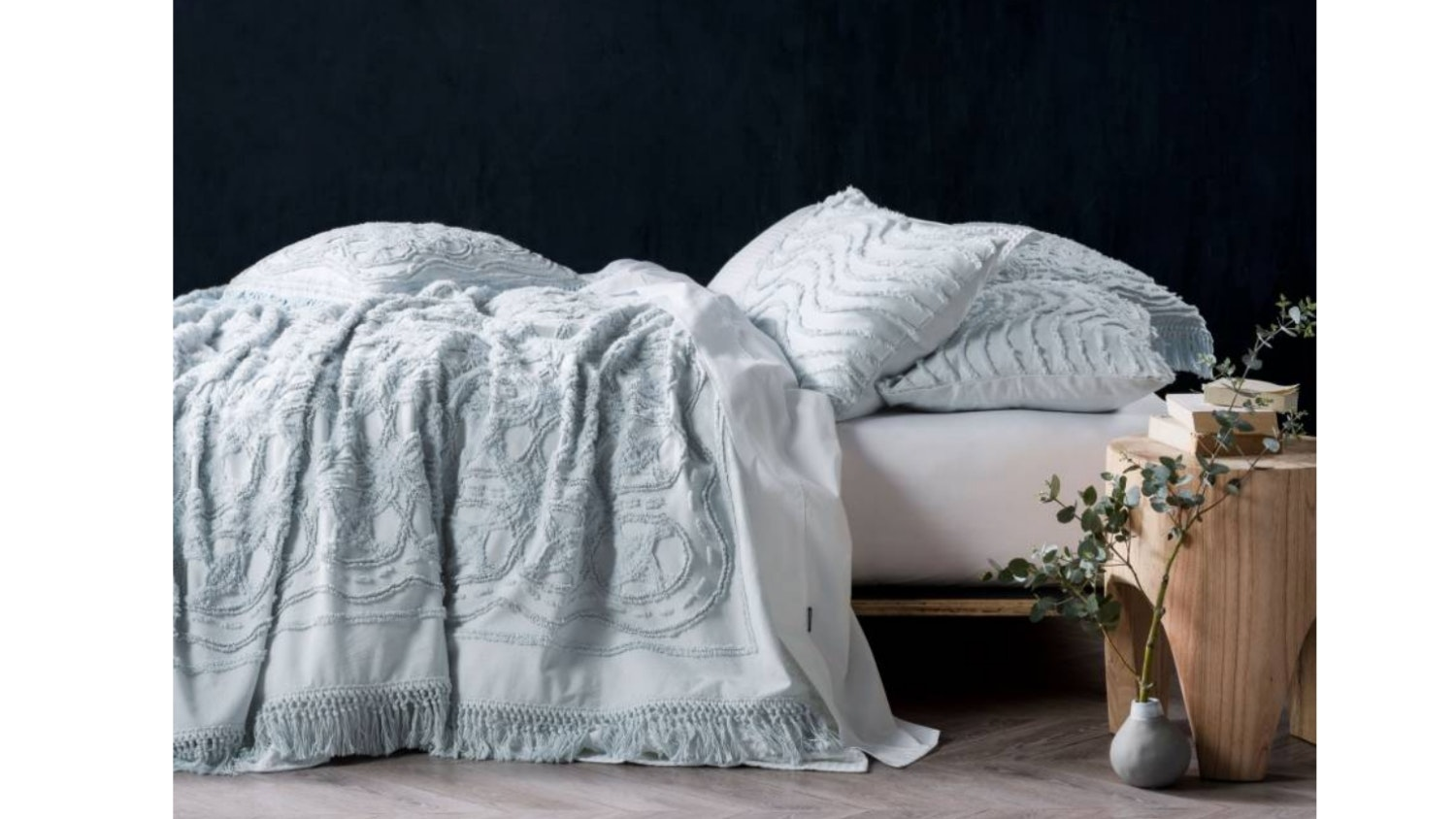 Linen House Somers Bed Cover - Soft Blue