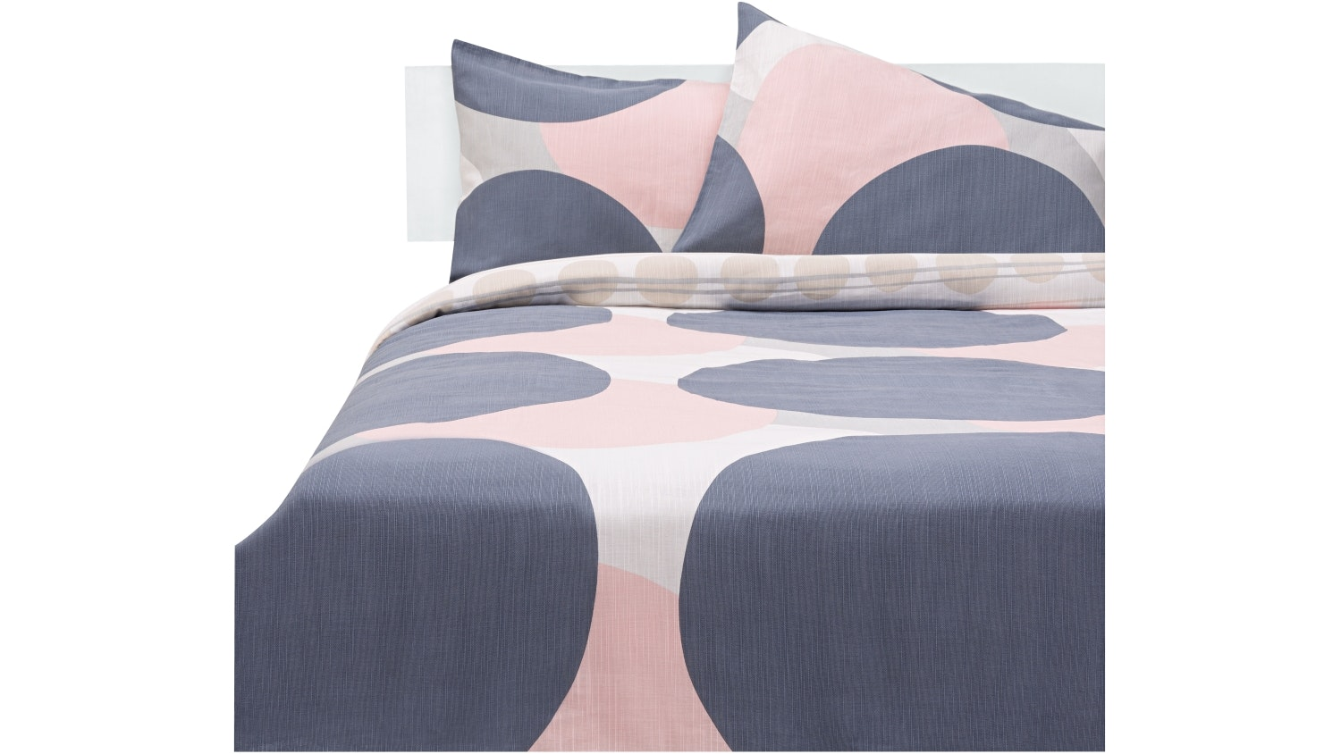 Kas Boyd Quilt Cover Set - Grey/Blush