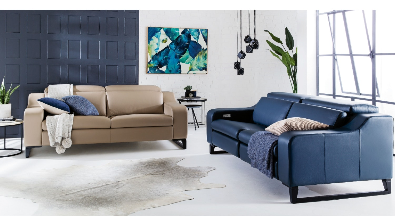 benelli 3 seater luxe leather sofa
