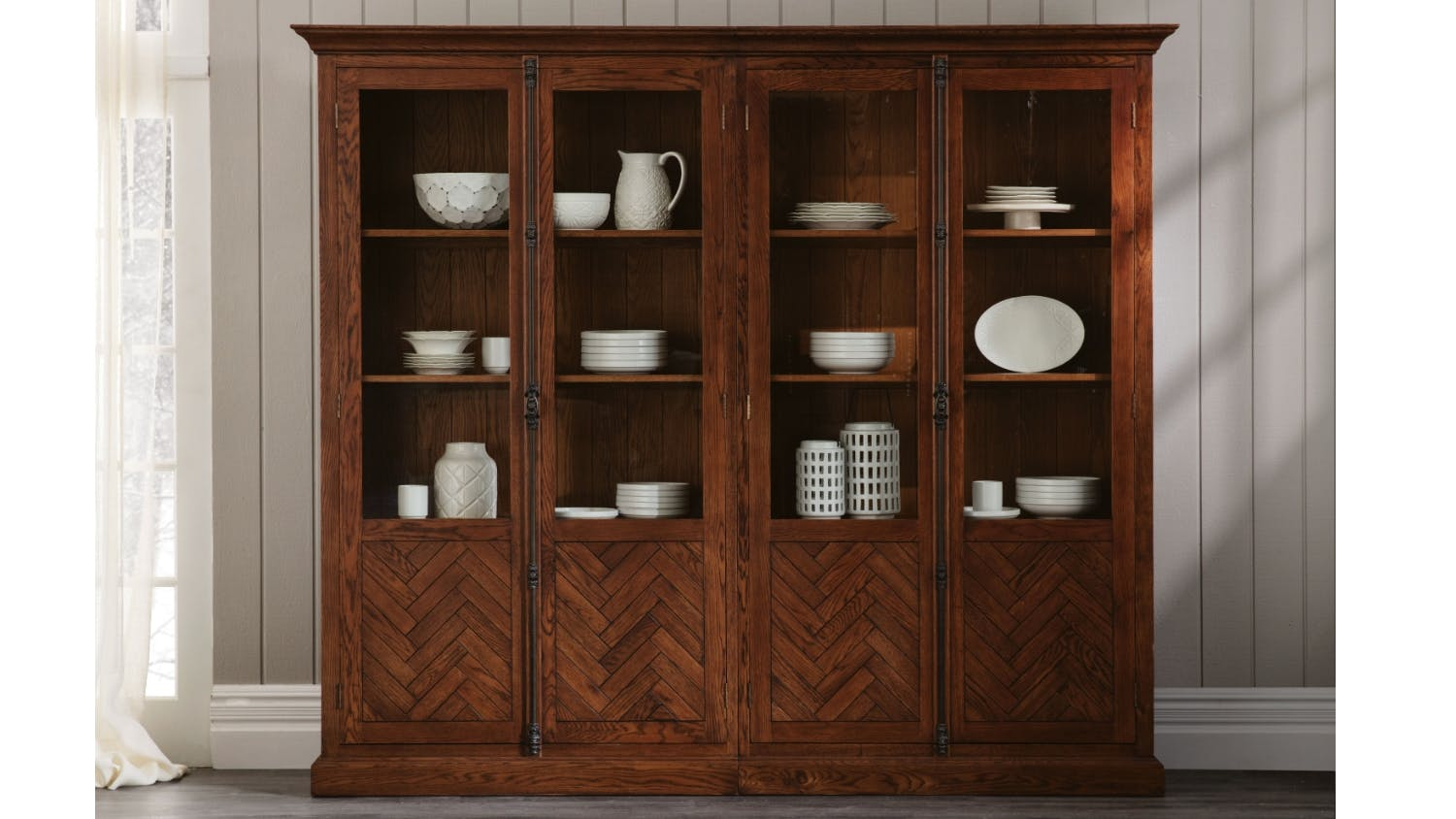Cambridge Herringbone Display Cabinet
