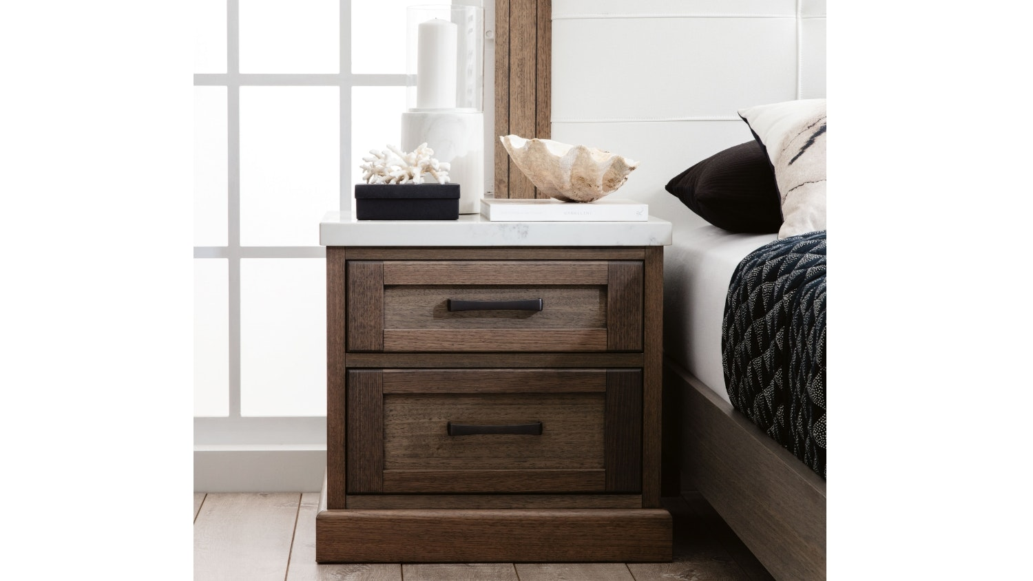 Hamptons 2 Drawer Bedside Table with Stone Top