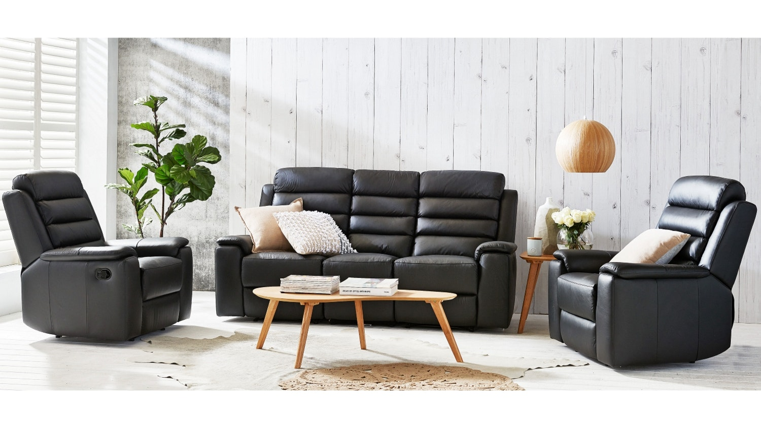 Apolo 3 Piece Leather Recliner Lounge Suite - Black