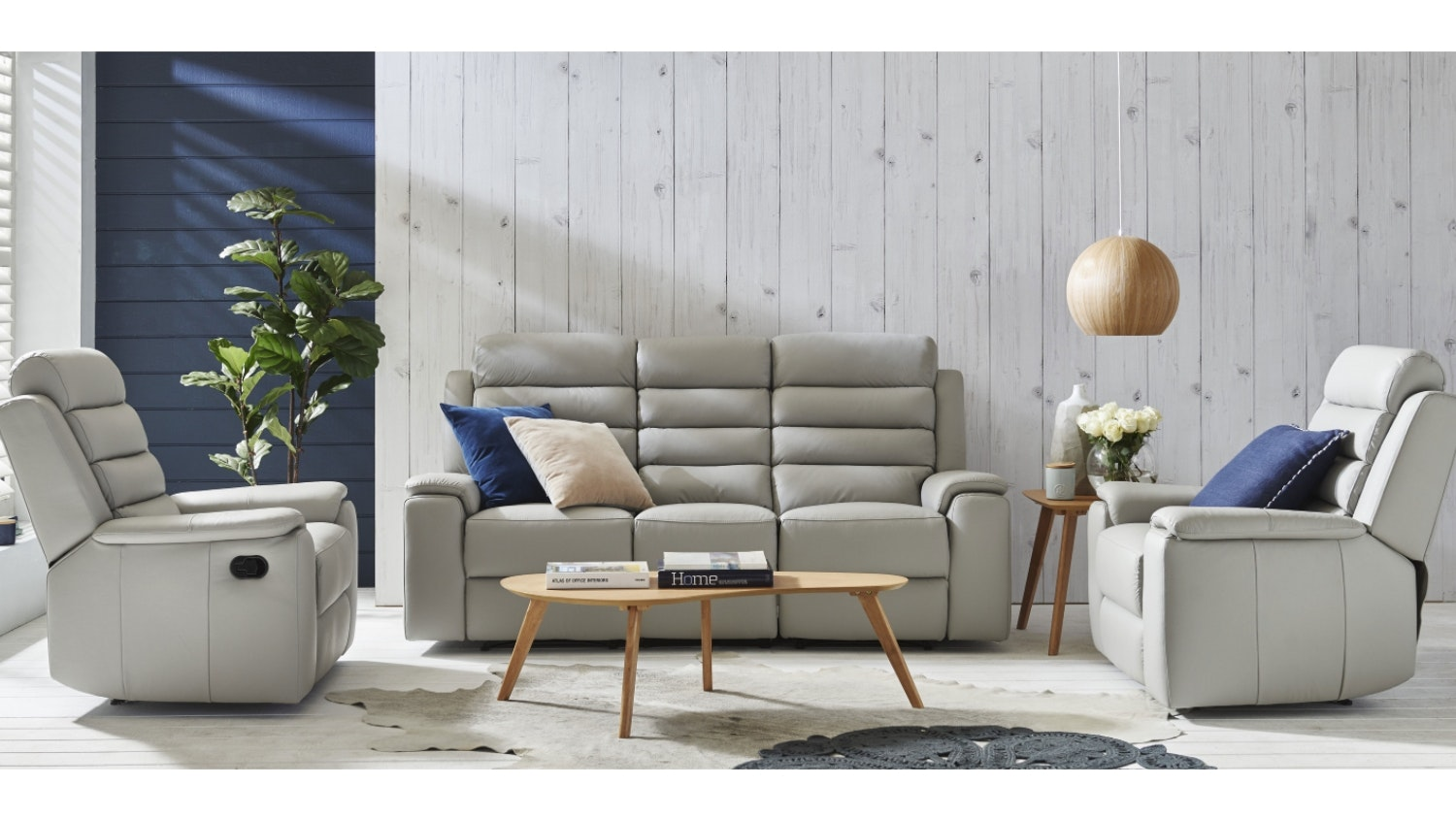 Apolo 3 Piece Leather Recliner Lounge Suite - Light Grey