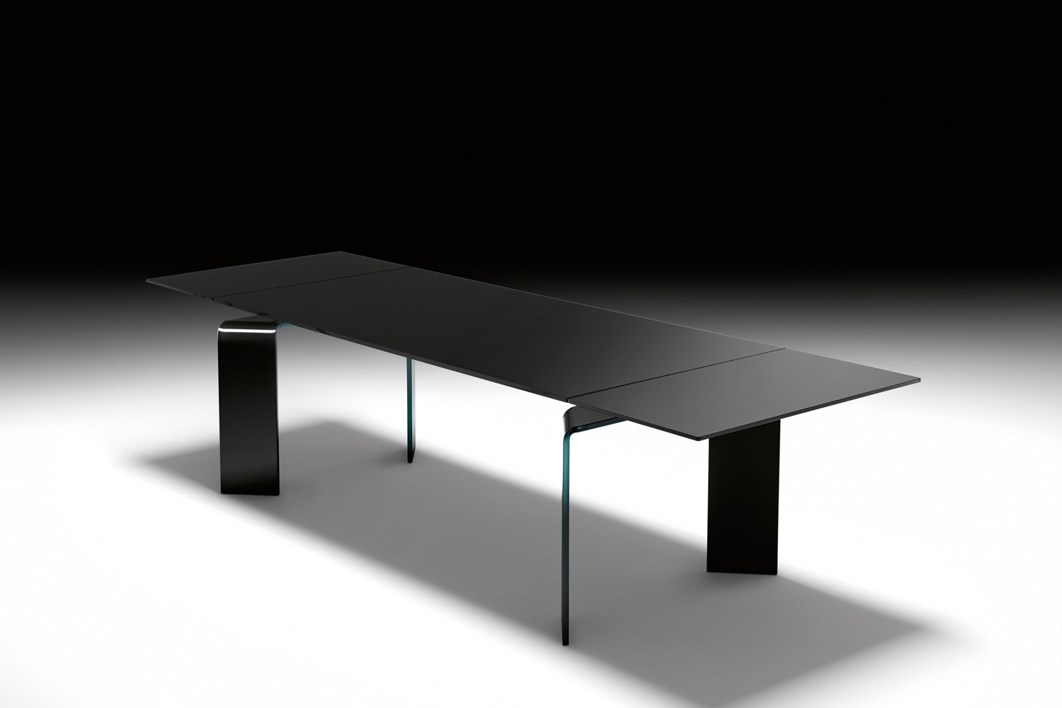 Ray Plus Black Extension Table by Bartoli Design for Fiam Italia
