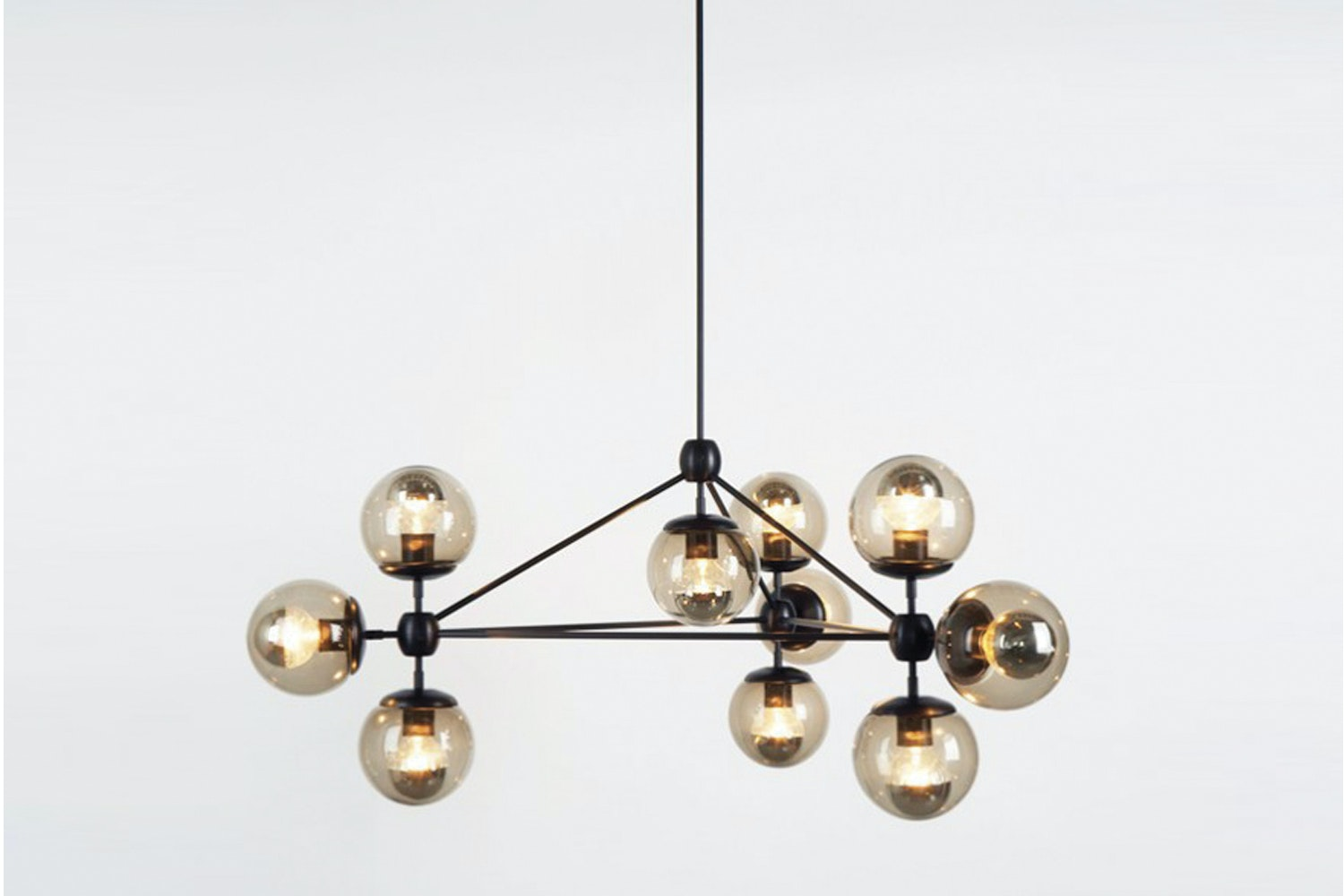 Modo Chandelier - 3 Sided 10 Globes Bronze, Smoked by Jason Miller for Roll & Hill