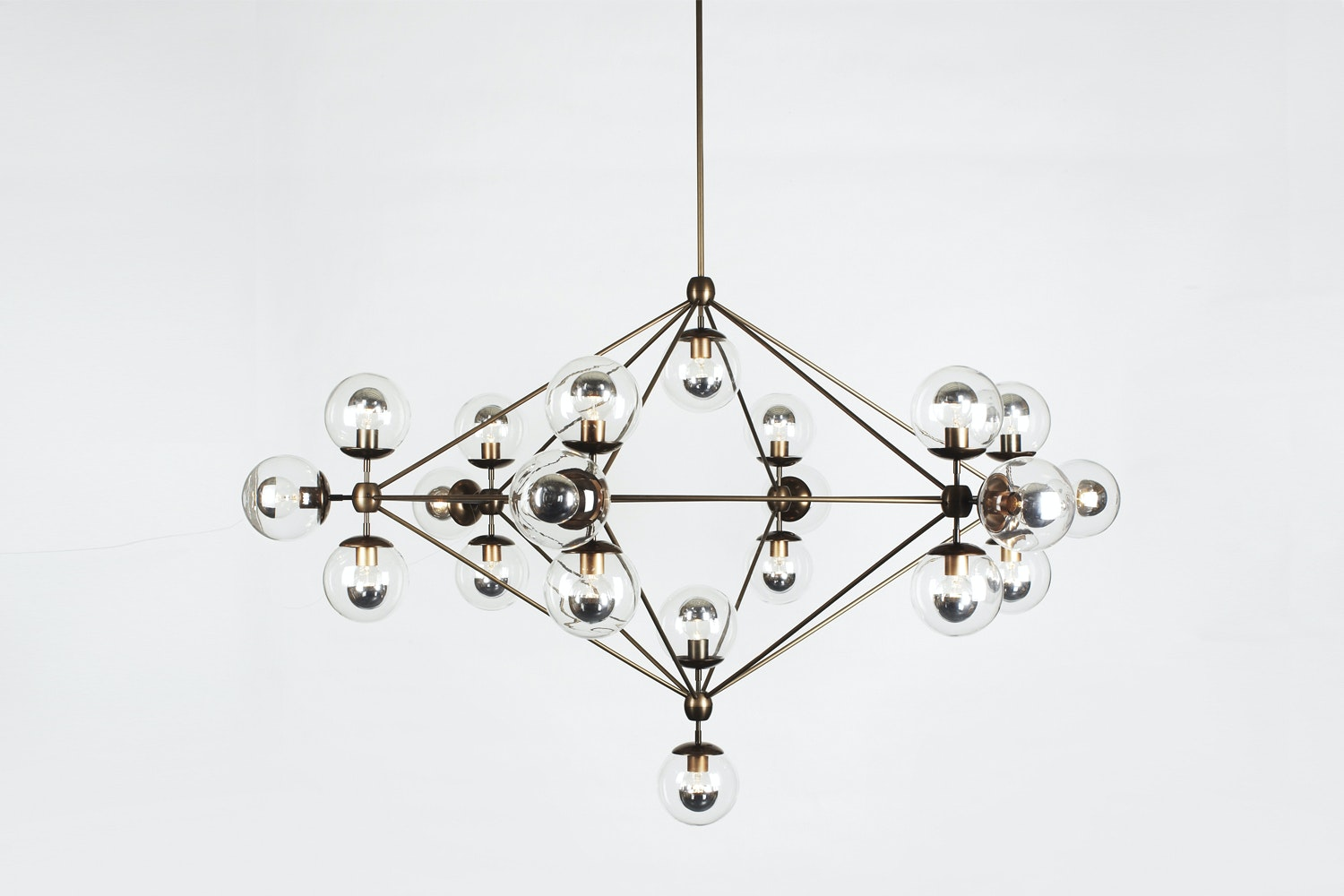 Modo Chandelier - 6 Sided 21 Globes Bronze, Smoked by Jason Miller for Roll & Hill