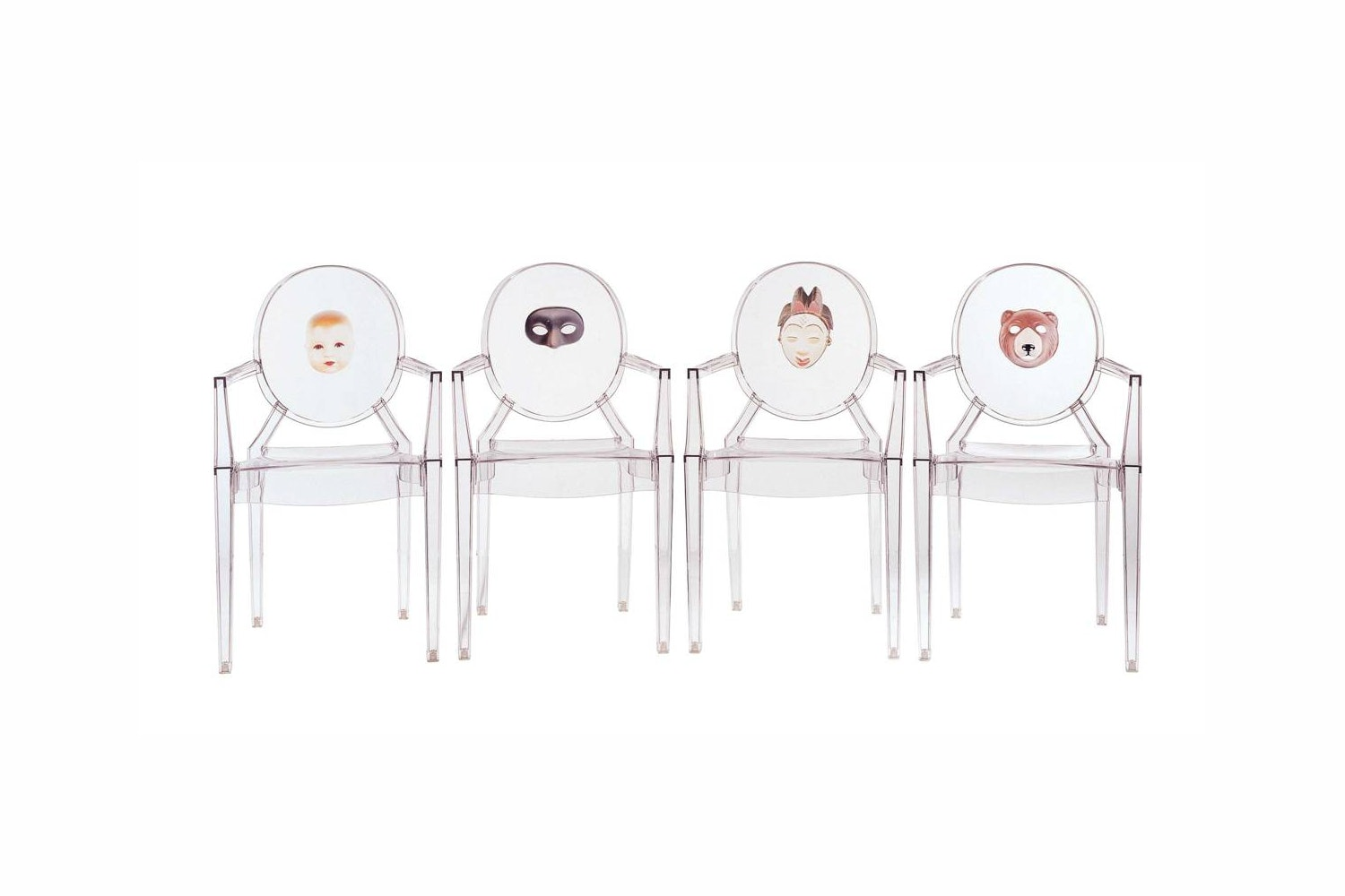 Louis Ghost Print Chair with Arms by Philippe Starck for Kartell