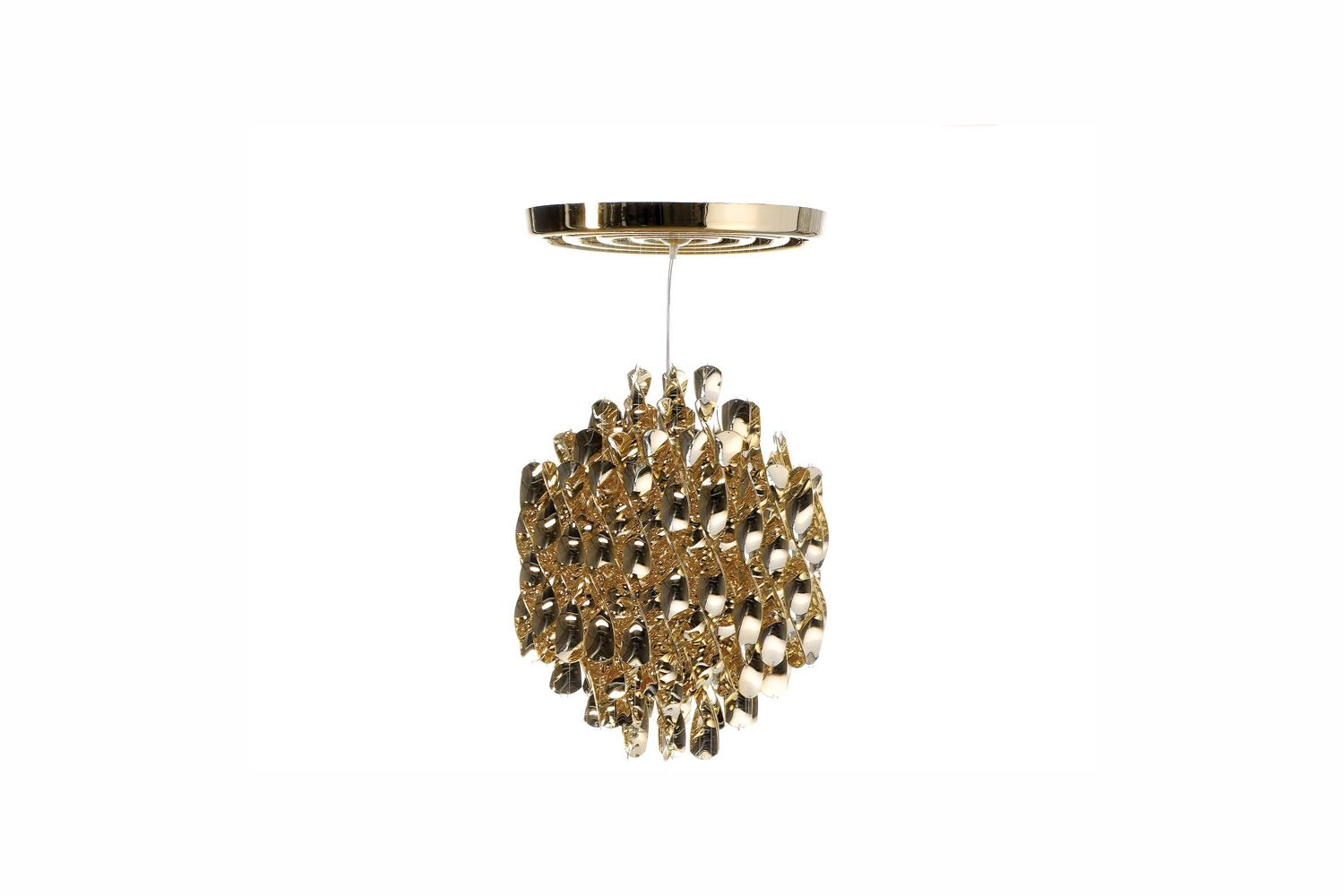 Spiral Small Suspension Lamp in Gold by Verner Panton for Verpan