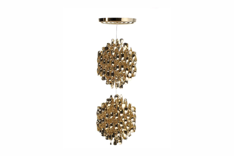 Spiral Medium Suspension Lamp in Gold by Verner Panton for Verpan