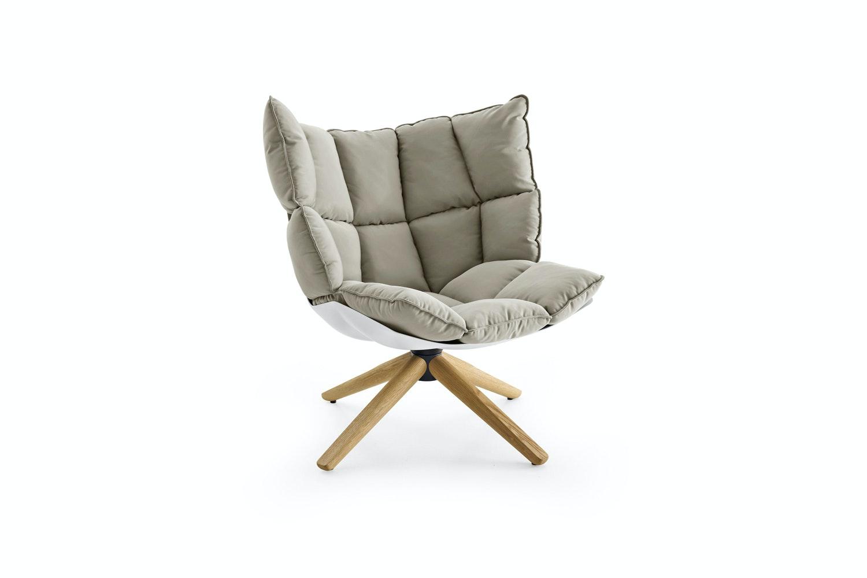 Husk Swivel Armchair with Snug Sides in Light Fabric by Patricia Urquiola for B&B Italia