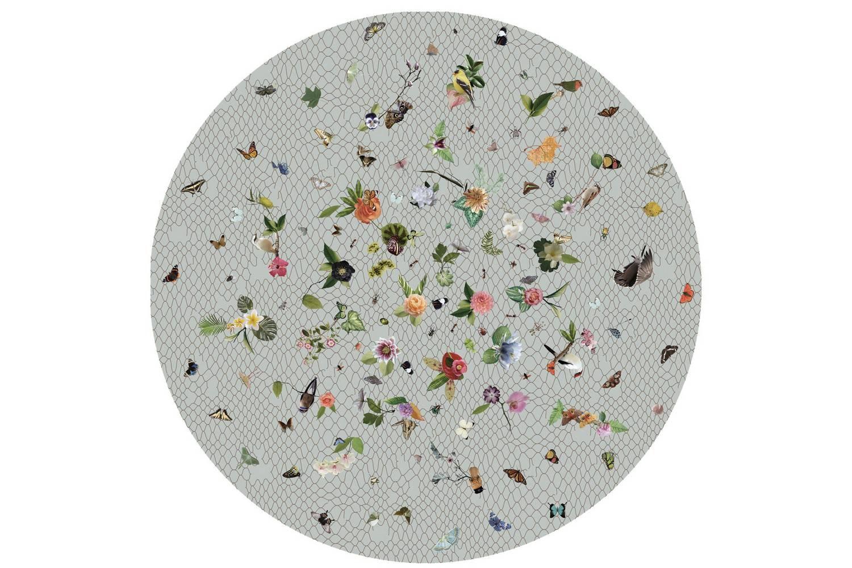 Garden of Eden Round Light Grey Rug by Edward van Vliet for Moooi Carpets