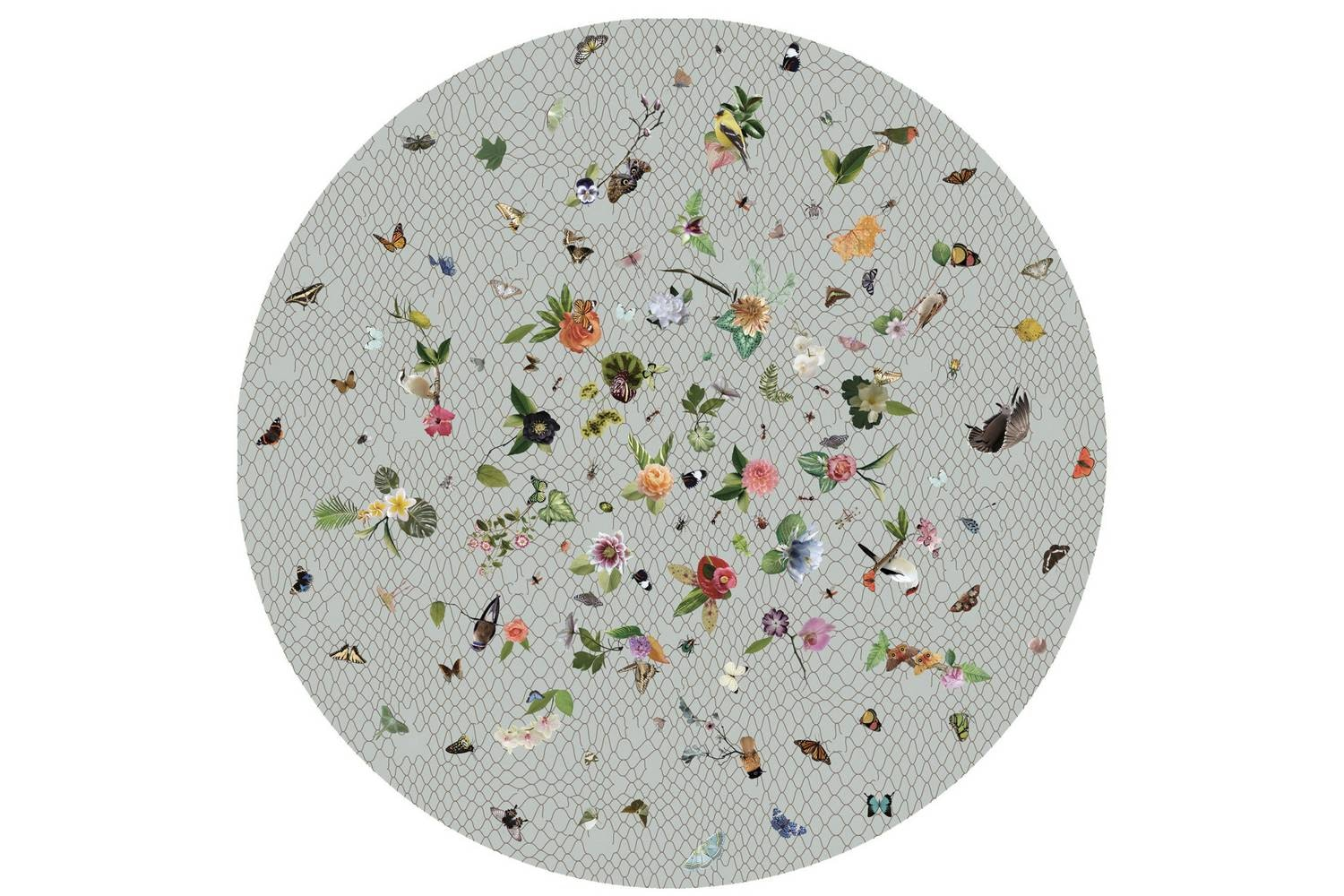 Garden of Eden Round Light Grey Rug by Edward van Vliet for Moooi Carpets