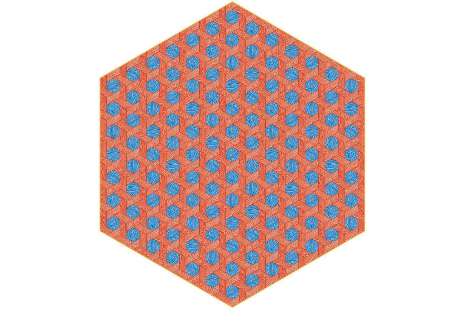 Hexagon Red/Blue Rug by Studio Job for Moooi Carpets