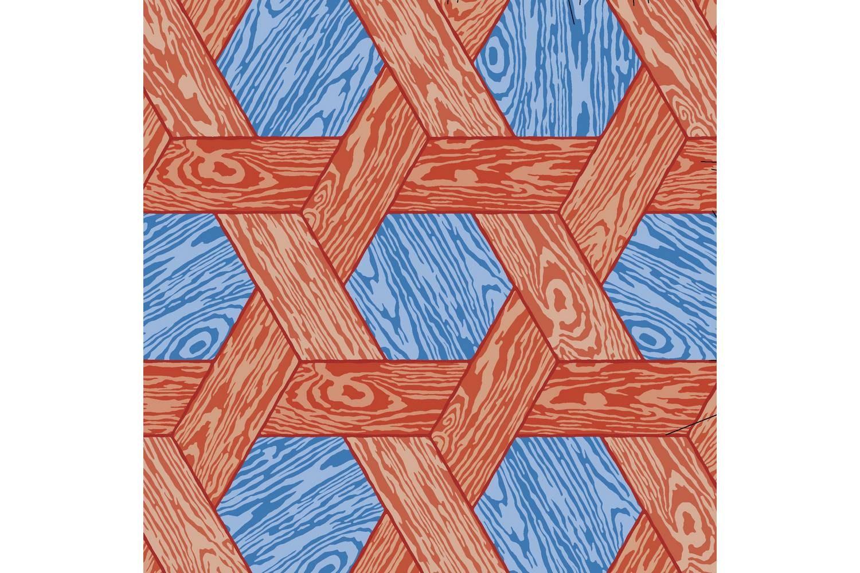 Hexagon Red/Blue Broadloom Carpet by Studio Job for Moooi Carpets