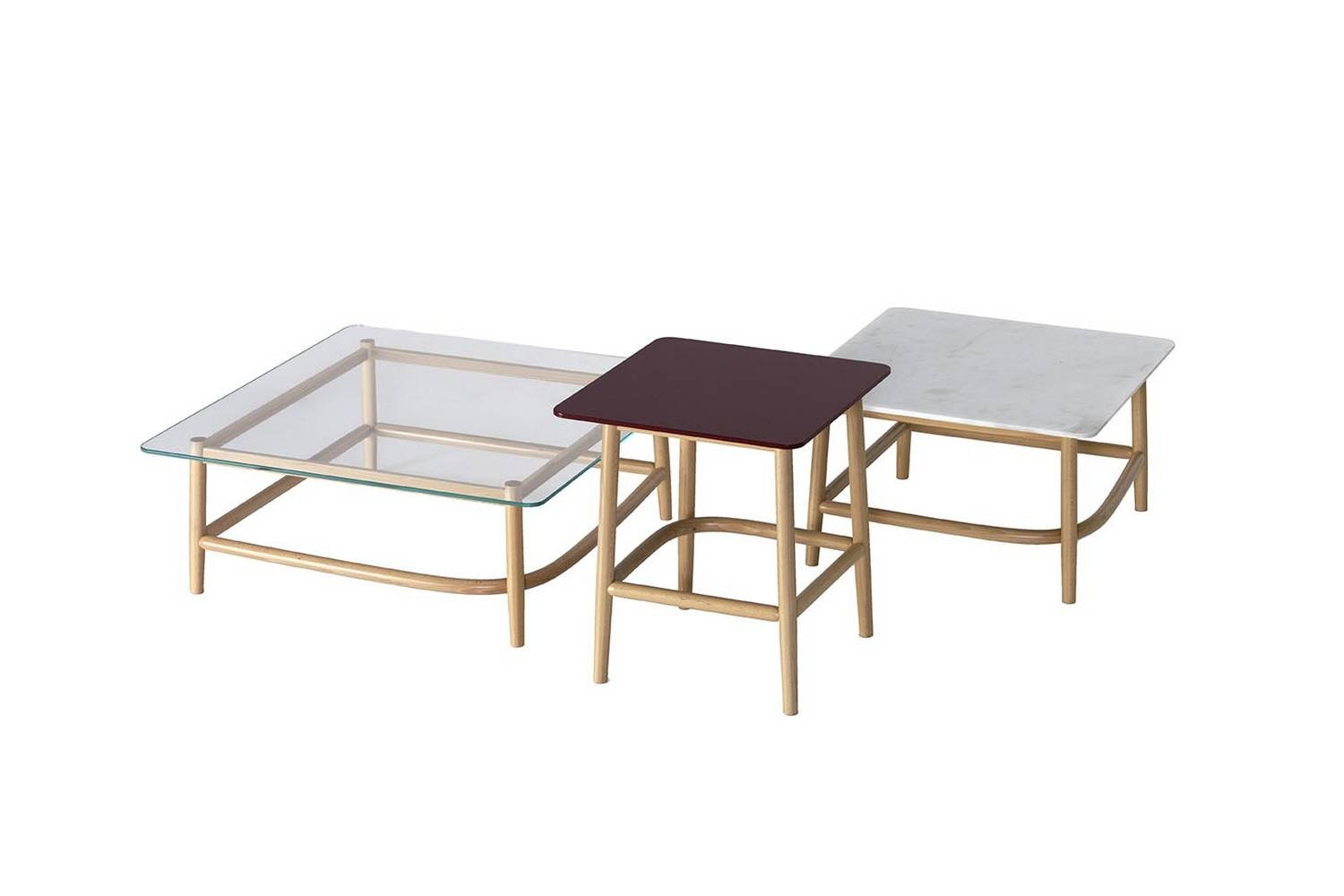 Single Curve Low Tables by Nendo for Wiener GTV Design