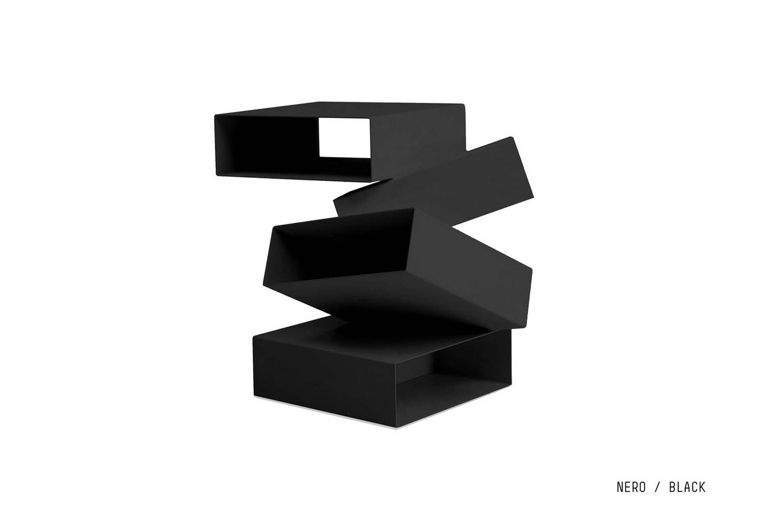 Balancing Boxes Black Side Table by Front for Porro