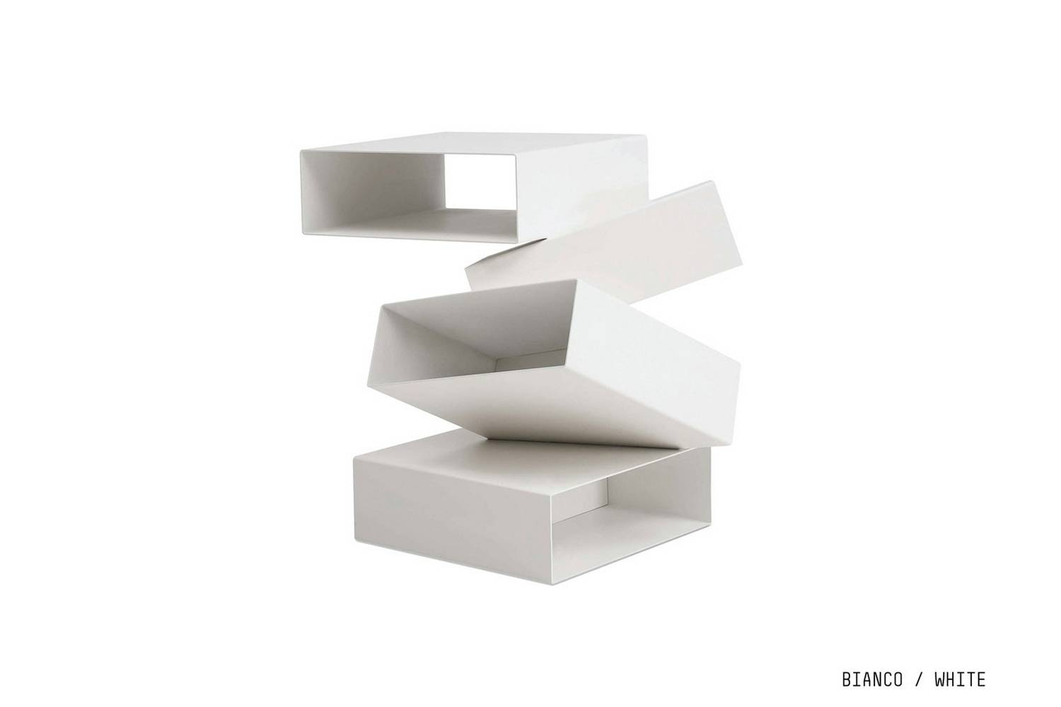 Balancing Boxes White Side Table by Front for Porro