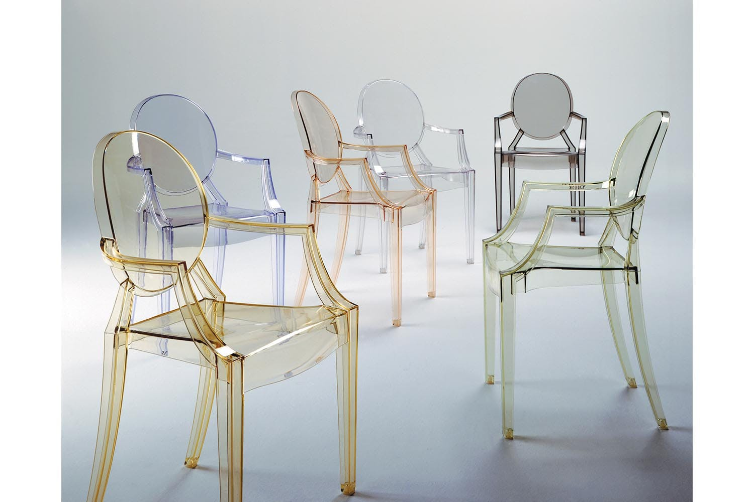 louis ghost chair with arms by philippe starck for kartell  space  - share