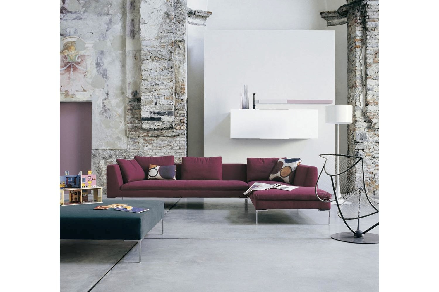 Charles Sofa with Right Chaise in Light Fabric by Antonio Citterio for B&B Italia