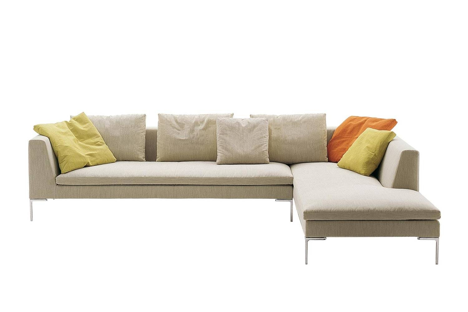 Charles Sofa with Right Chaise in Dark Fabric by Antonio Citterio for B&B Italia