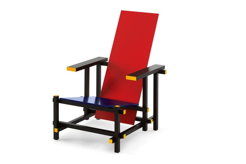 635 Red and Blue Armchair by Gerrit Thomas Rietveld for Cassina