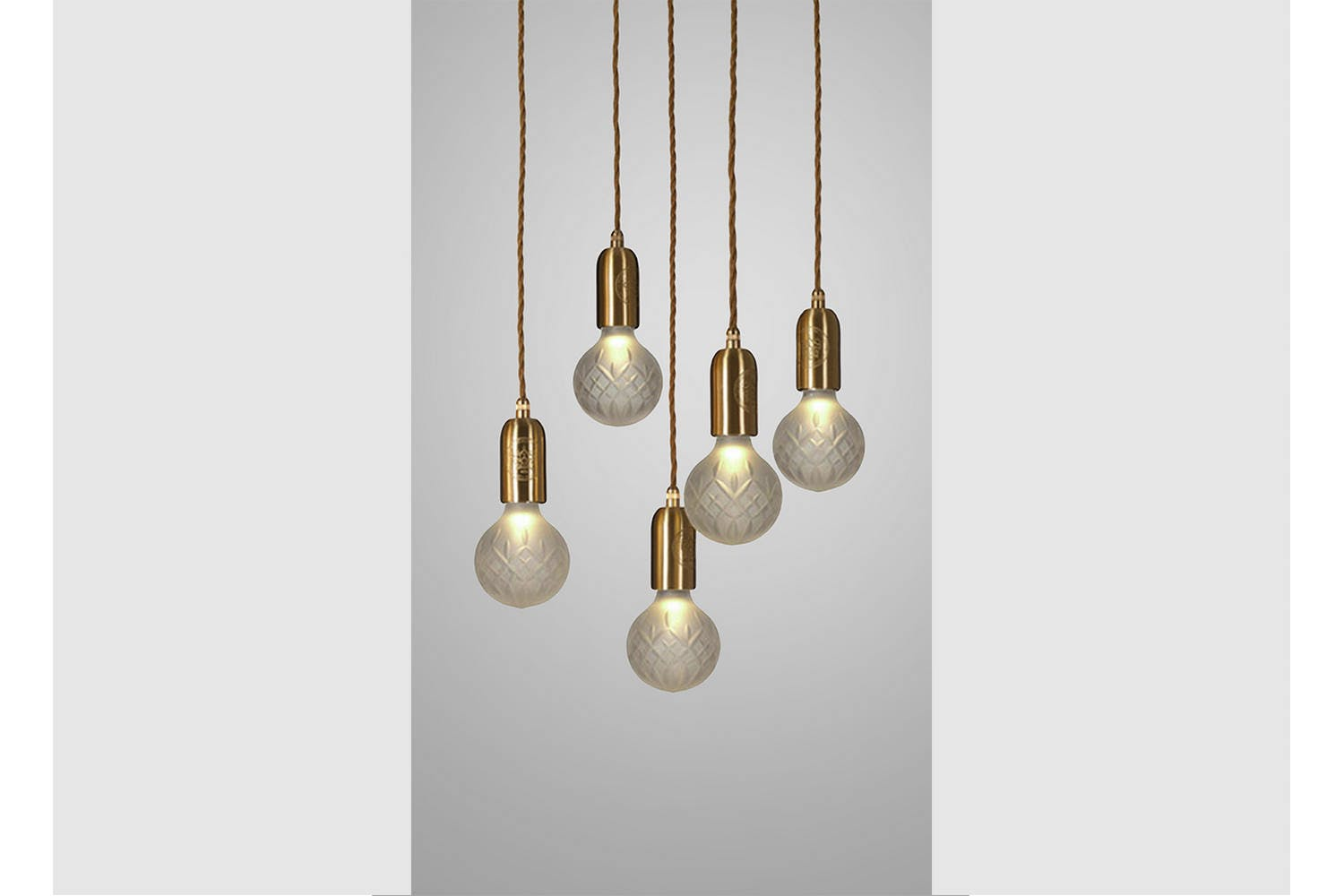 Frosted Crystal Bulb Chandelier 5 Piece Brushed Brass By Lee Broom