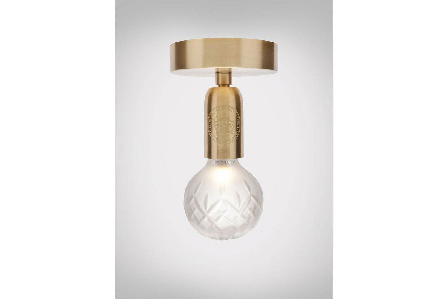 Frosted Crystal Bulb Ceiling Lamp - Brushed Brass by Lee Broom