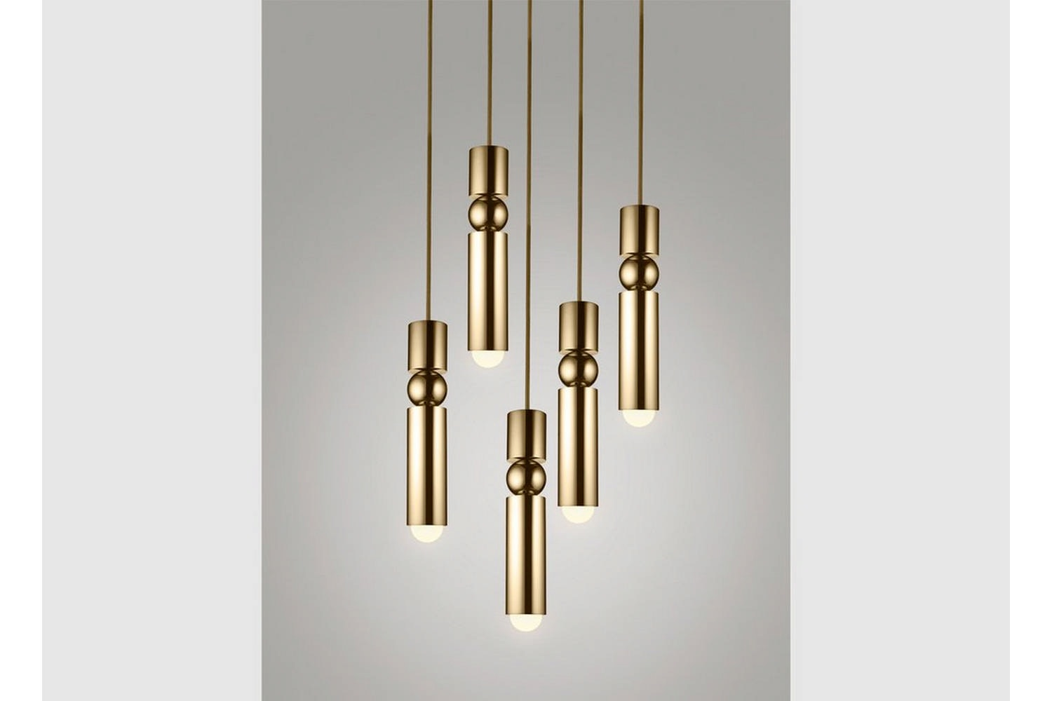 Fulcrum Chandelier 5 Piece - Polished Gold by Lee Broom
