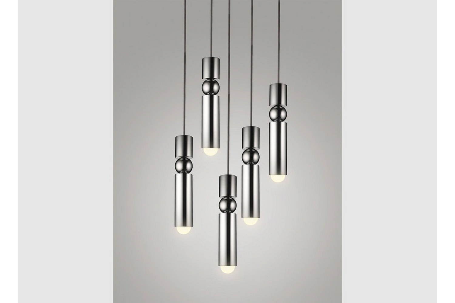 Fulcrum Chandelier 5 Piece - Polished Chrome by Lee Broom