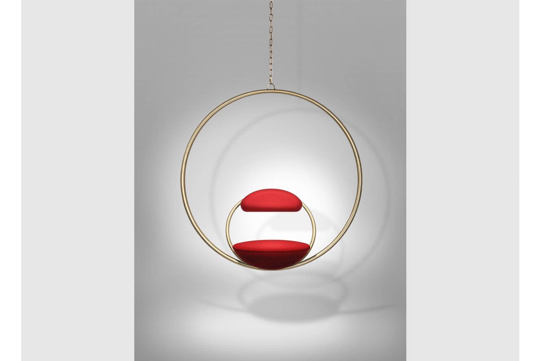 Hanging Hoop Chair - Brushed Brass by Lee Broom
