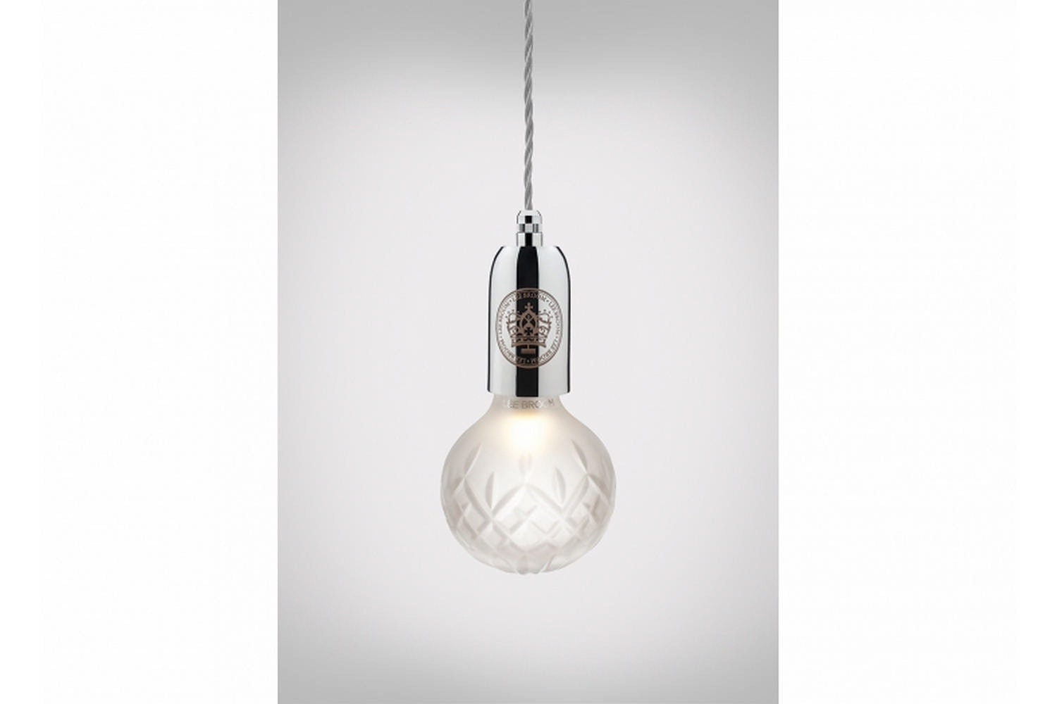 Frosted Crystal Bulb Pendant - Polished Chrome by Lee Broom