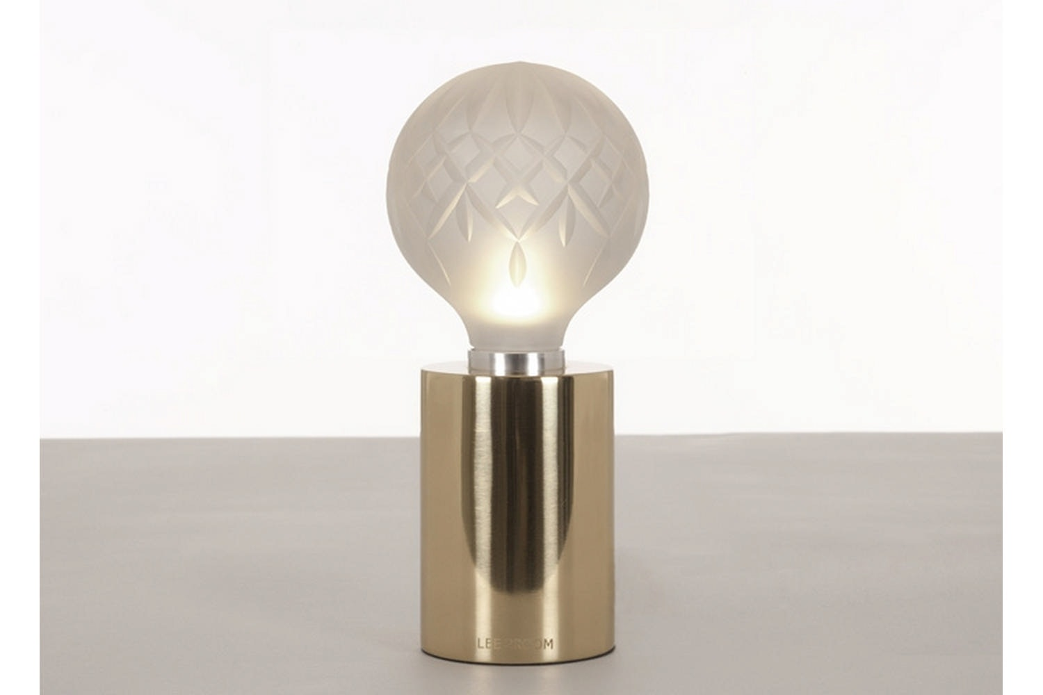 Frosted Crystal Bulb Table Lamp - Polished Gold by Lee Broom