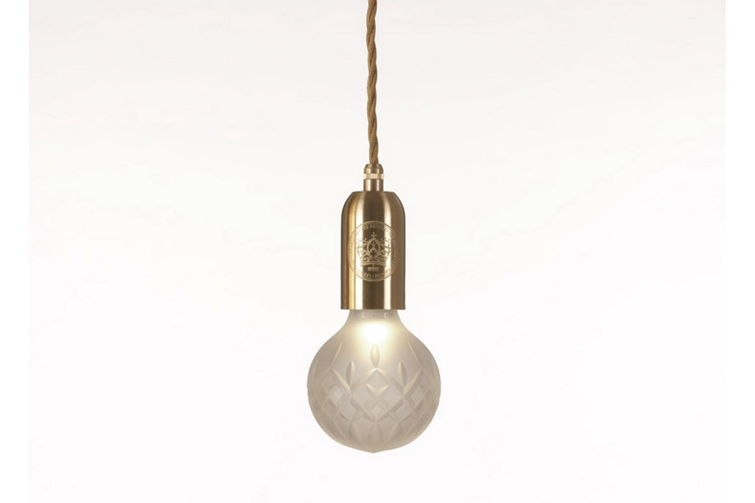 Frosted Crystal Bulb Pendant - Brushed Brass by Lee Broom