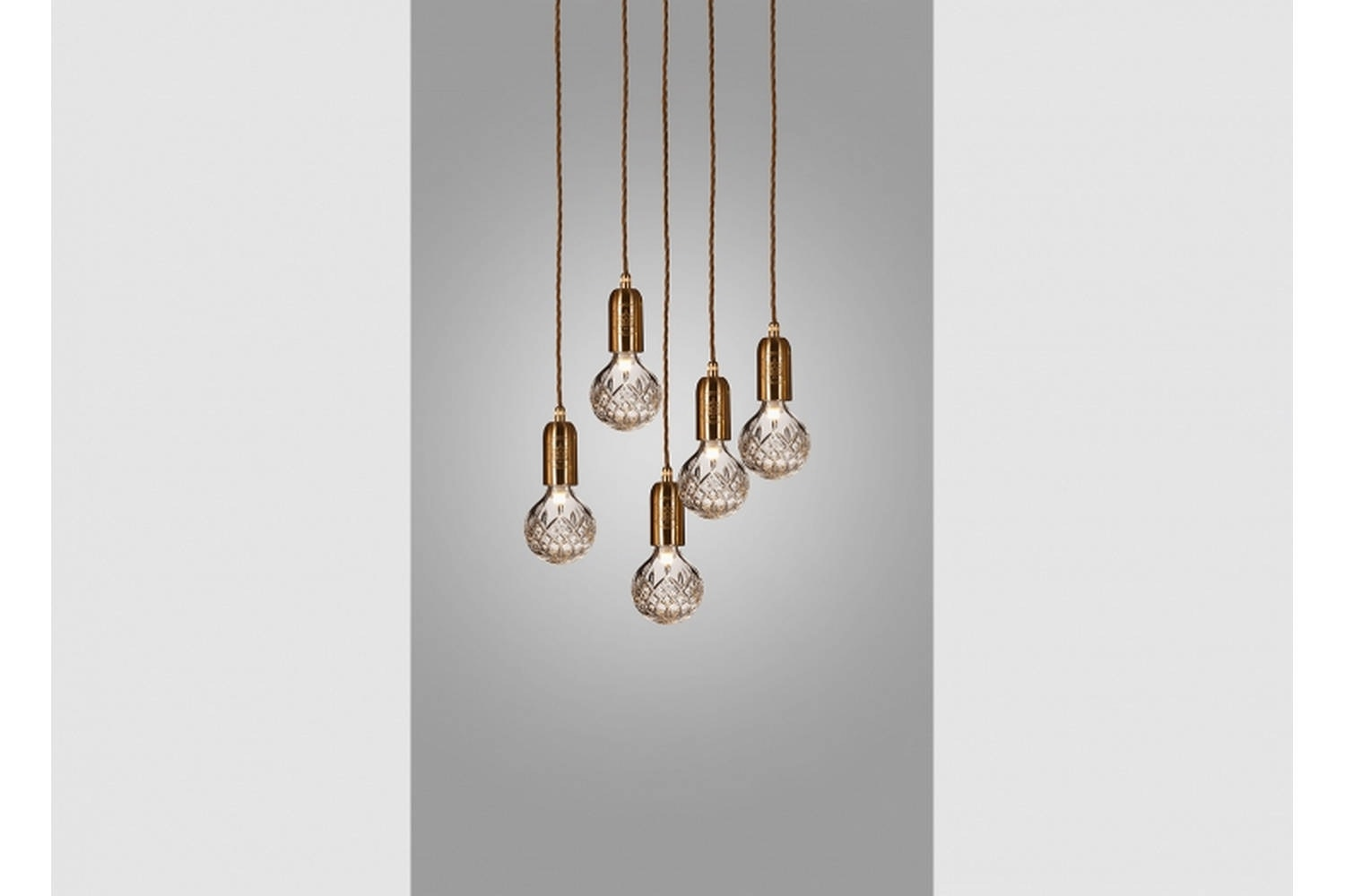 Clear Crystal Bulb Chandelier 5 Piece - Brushed Brass by Lee Broom