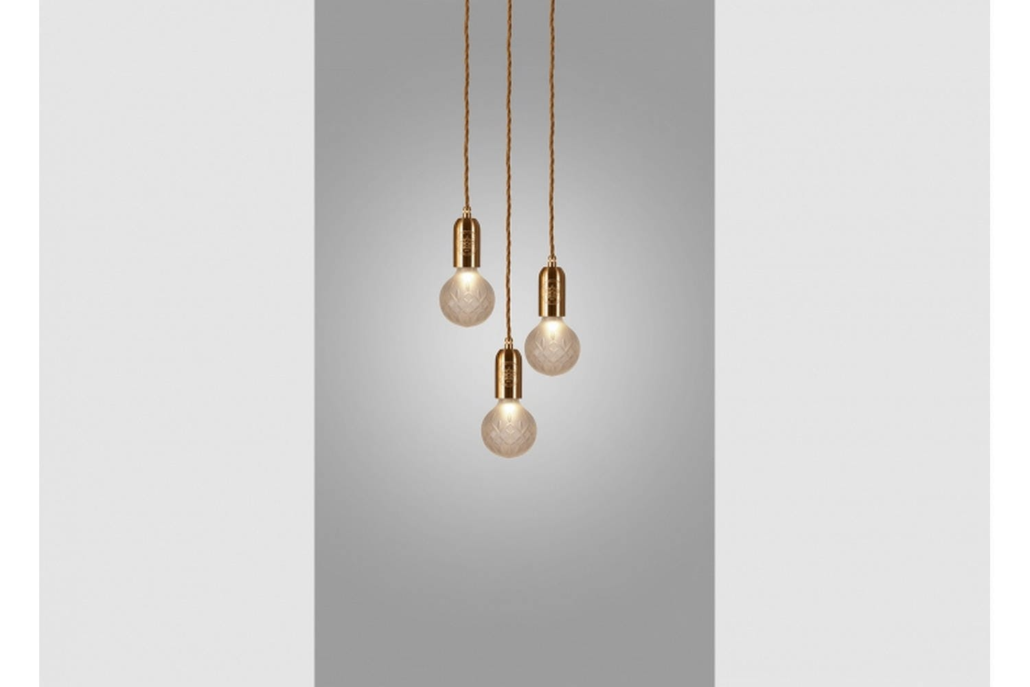 Frosted Crystal Bulb Chandelier 3 Piece Brushed Brass By Lee Broom