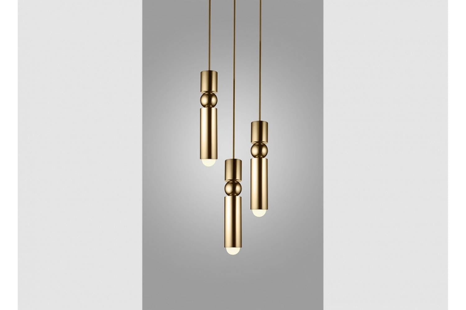 fulcrum chandelier 3 piece polished gold by lee broom space