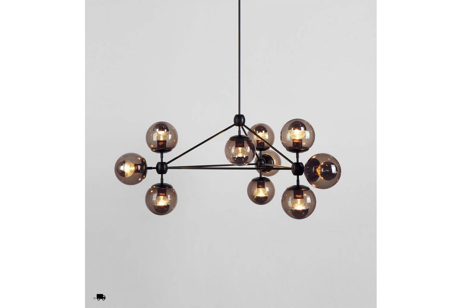 Modo Chandelier - 3 Sided 10 Globes by Jason Miller for Roll & Hill