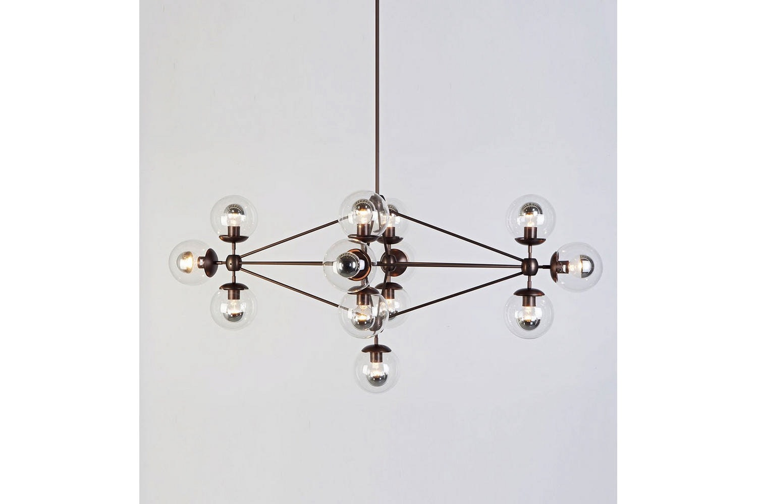 Modo Chandelier - Diamond 13 Globes by Jason Miller for Roll & Hill