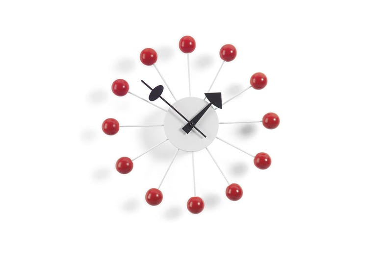 Ball Clock - Red by George Nelson for Vitra