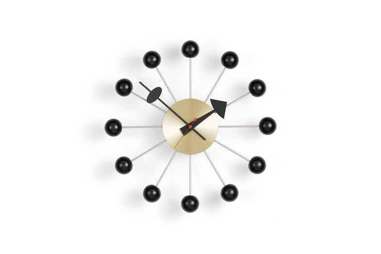 Ball Clock - Black/Brass by George Nelson for Vitra