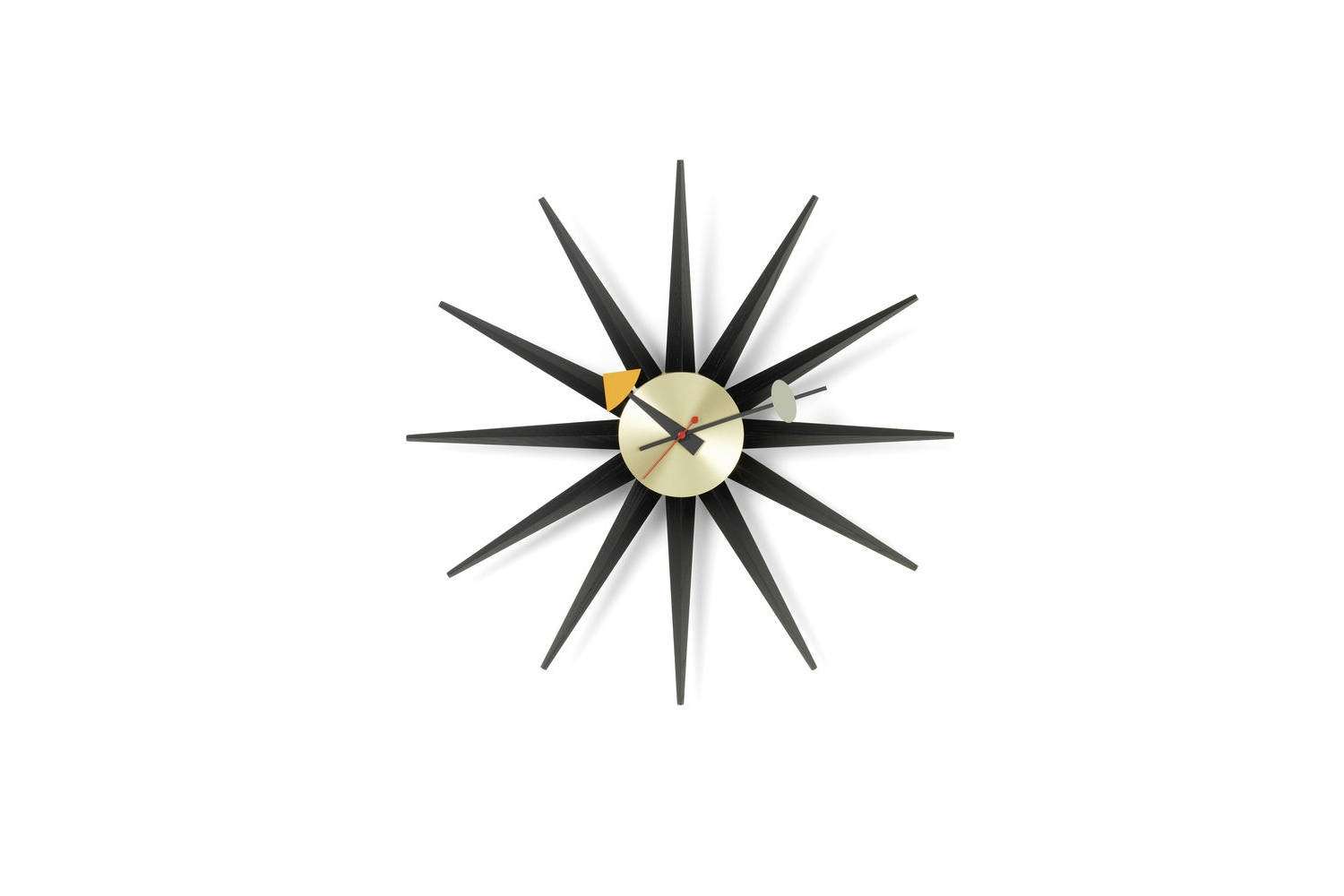 Sunburst Clock - Black/Brass by George Nelson for Vitra